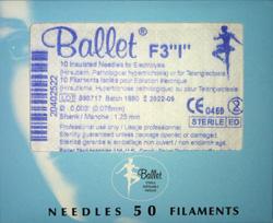 Päckchen mit 50 steril verpackten isolierten Ballet Epilationsnadeln