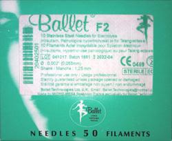 Päckchen mit 50 steril verpackten Ballet Epilationsnadeln in stahl.