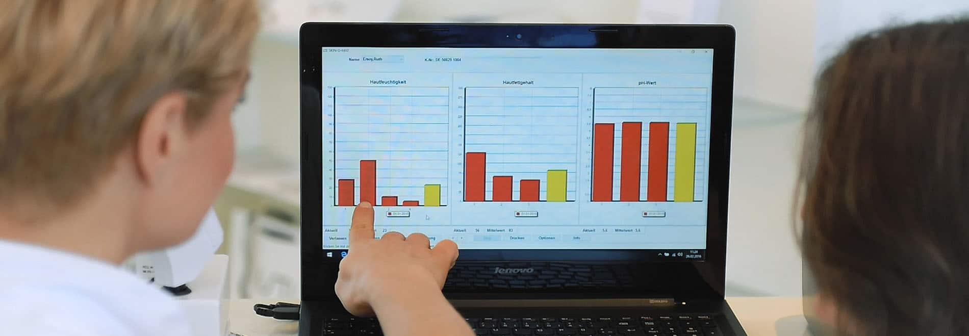 Software für die Auswertung der professionellen Hautanalyse