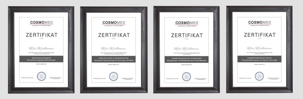 Zertifikate für Schulung und Ausbildung Kosmetik